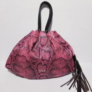 Furla Pink/Purple Snakeskin Tassel Satchel Bag